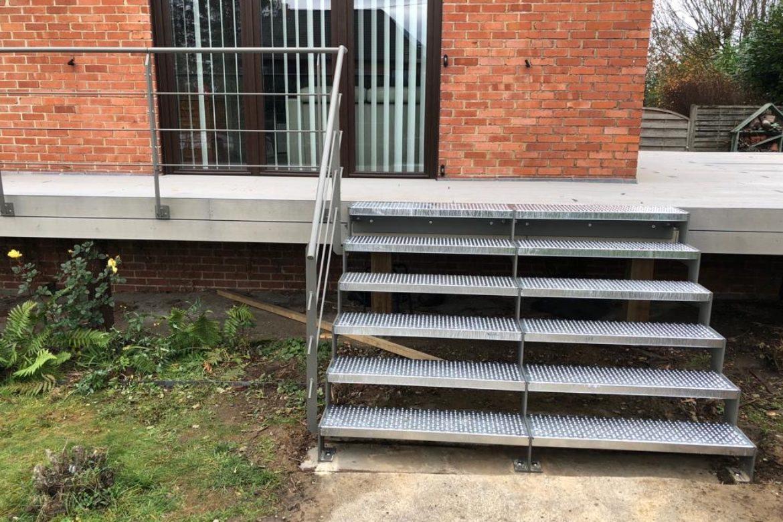 Escalier extérieur double en crémaillère