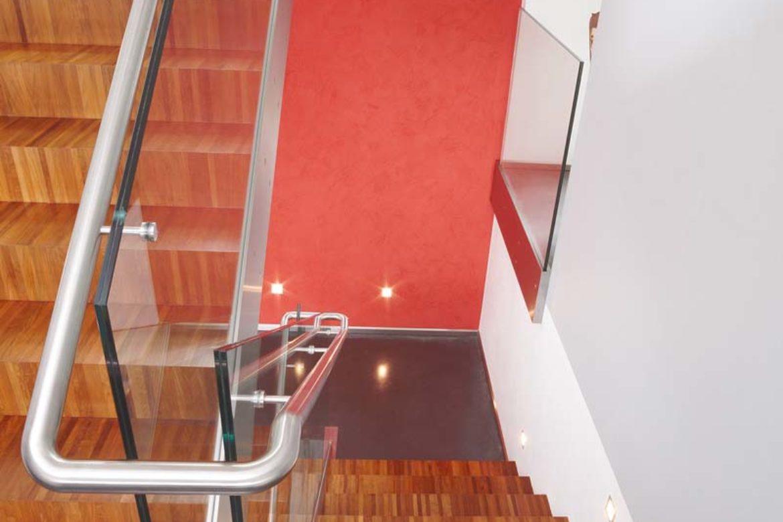 Verre sécurit sur escalier avec main courante 2