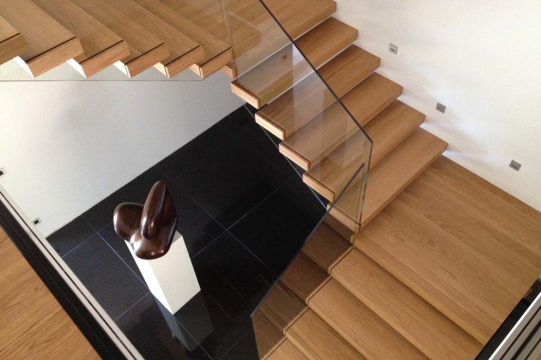 Verre sécurit sur escalier sans main courante 1